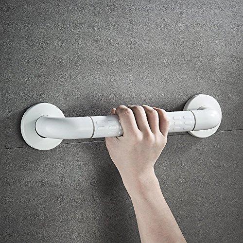 BONADE Badewannengriff Edelstahl Griffstange Ø 35 mm Wannengriff Haltegriff für Senioren in weiss rutschfest Griff für WC, Badzimmer Wandmontage