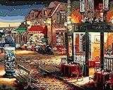 Fuumuui DIY Vorgedruckt Leinwand-Ölgemälde Geschenk für Erwachsene Kinder Malen Nach Zahlen Kits Home Haus Dekor - Kaffee und Blumenladen 40*50 cm