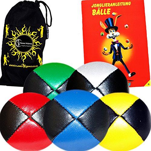 Jonglierbälle 5er Set - Profi Beanbag Bälle aus Glattleder (Leather) + MR Babache Bälle-Booklet (in Deutsch) +Tasche. Komplett-Set Ideal Für Anfänger Wie Auch Für Profis.
