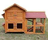 Zoopplier Kaninchenstall Kleintierhaus Hasenstall Kleintierkäfig Nr. 05'De Luxe mit Seitenflügeln