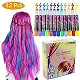 Philonext Haarkreide 12 Farben Colorful Professional Waxy Glitter Farbige Natürliche Haare Kreide Kreide Kugelschreiber Non-Toxic Metallic Glitter temporäre Haarfarbe (12 Colors)