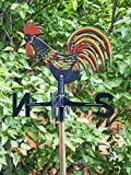 SIDCO Wetterhahn Wetterfahne Windrad Windspiel Hahn Garten Deko Gartenstecker
