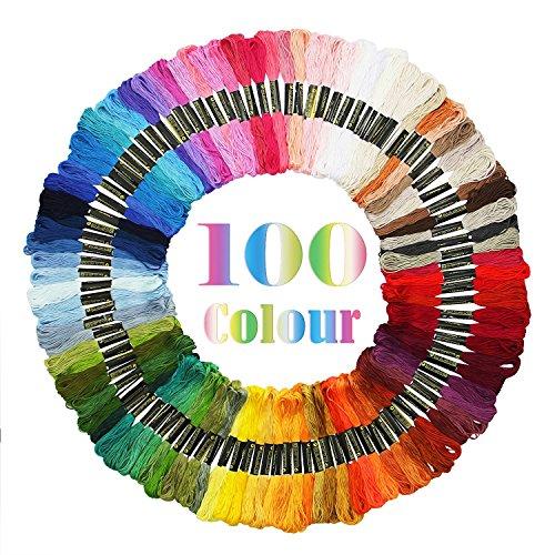 Adkwse Stickgarn Embroidery Floss Multifarben Weicher Baumwolle perfekt für Freundschaftsbänder,Bracelets,Stickerei, Kreuzstich 8m 6-fädig (100 Farben)