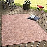 Paco Home in- & Outdoor Flachgewebe Teppich Terrassen Teppiche Farbverlauf in Terracotta, Grösse:60x100 cm