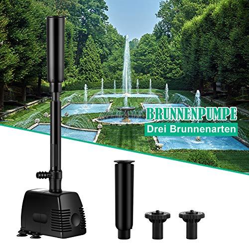 SPEED Springbrunnenpumpe Wasserspielpumpe Teichpumpe Fontäne Wasserpumpe Fontäne Gartenpumpe Bachlaufpumpe (1000L/h)
