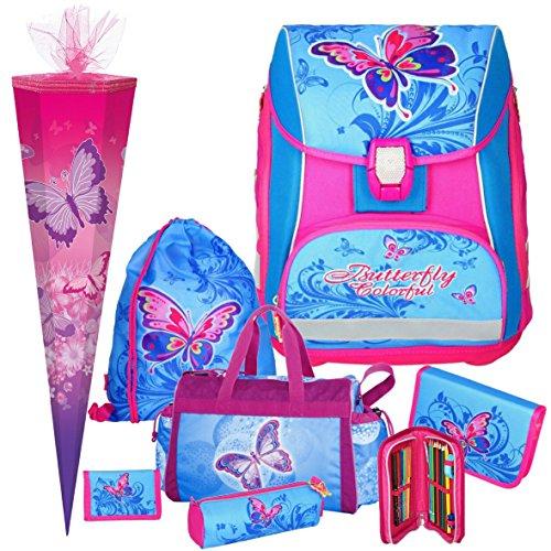 Spirit BUTTERFLY Pro Light - Schmetterling - Leicht-Schulranzen-Set mit BLINKENDEM LED-Schloss 7teilig mit SCHULSPORTTASCHE und SCHULTÜTE