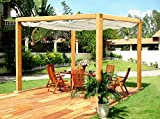 G&C Rom – Klassiche rechteckige Pergola aus Holz mit einziehbarem Dach