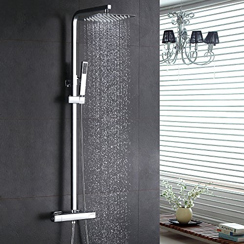 Homelody Thermostat Duschsystem Duschset Eckig Regendusche Duschpaneel Duscharmatur inkl. Überkopfbrause Handbrause Regenbrause