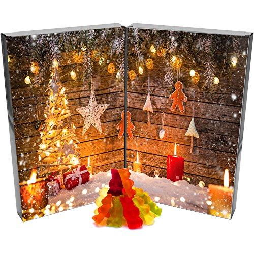 Hallingers 24 Gummibärchen-Adventskalender mit Fruchtsaftbärchen (500g) - Weihnachtskerzen (Buch-Karton) - zu Weihnachten Adventskalender