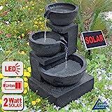 GARTENBRUNNEN BRUNNEN Solar BRUNNEN ZIERBRUNNEN VOGELBAD WASSERFALL GARTENLEUCHTE TEICHPUMPE - SPRINGBRUNNEN WASSERSPIEL für Garten, Gartenteich, Terrasse, Teich, Balkon, sehr DEKORATIV, VERBESSERTES MODELL MIT PUMPEN-INSTANT-START-FUNKTION SOLARTEICHDEKORATION, GARTENDEKO, LED-Solar-Set Wasserbrunnen 'GRANITSCHALEN-KASKADE' mit LiIon-Accu und LED-Beleuchtung