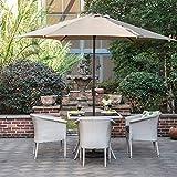 Grand patio Gartenschirm Kurbelschirm Sonnenschutz UV-Schutz Sonnenschirm Ø 270CM, rund, Beige