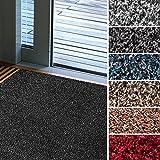 Fußmatte Karat für Eingangsbereiche | extra saugstarke Schmutzfangmatte aus Baumwolle | rutschfest | waschbar | zahlreiche Größen | viele Farben | 60x100 cm | Rot