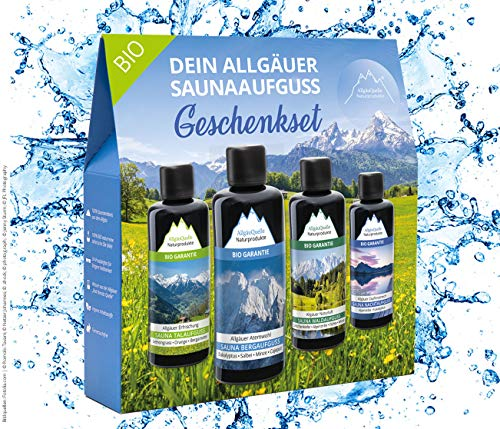 Saunaaufguss-Set mit 100% BIO-Sauna-Öle 4x100ml -  Allgäuer Erfrischung  Allgäuer Naturluft  Allgäuer Atemwohl  Allgäuer Zapfenstreich. Das Bio-Saunaduft Set. Bio-Saunaöl-Set.