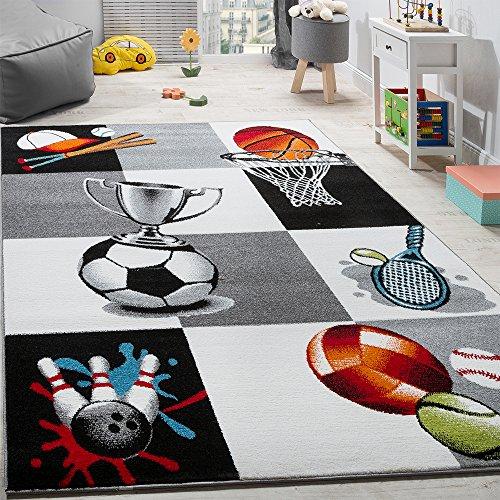 Paco Home Kinderteppich Pokal Basketball Fussball Kinder Teppich Tennis Karo Grau Creme, Grösse:160x220 cm