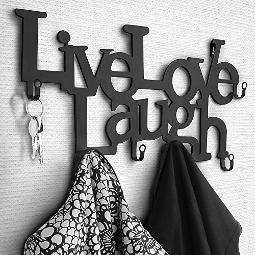 Miadomodo–Metall Wandgarderobe mit 6Haken–Grund, Live, Love, Laugh
