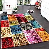 Teppich Modern Designer Teppich Patchwork Vintage Multicolour Grün Rot Gelb Blau, Grösse:160x230 cm