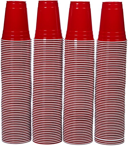 AmazonBasics Partybecher aus Kunststoff, Einwegbecher, 473 ml, 240er-Pack, Rot