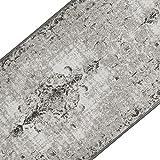 Teppichläufer im Vintage Look | brilliante Farben | hochwertige Meterware, gekettelt | Kurzflor Teppich Läufer | Küchenläufer, Flurläufer (Grau, 80x100 cm)