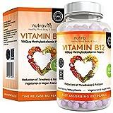 Vitamin B12 Methylcobalamin 1000 mcg | 6-Monats-Versorgung - 180 Perlen | Vitamin b12 Vegan | Hochdosiert | Nahrungsergänzungsmittel von Nutravita