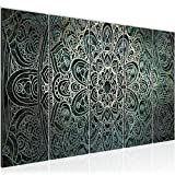 Bilder Mandala Abstrakt Wandbild 150 x 60 cm Vlies - Leinwand Bild XXL Format Wandbilder Wohnzimmer Wohnung Deko Kunstdrucke Grün 5 Teilig - MADE IN GERMANY - Fertig zum Aufhängen 109456a