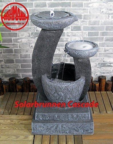 Wehmann Solarspringbrunnen Solarbrunnen Cascade Garten Brunnen Kaskade Komplettset für Garten und Terrasse Tag und Nacht ! mit externer Solaranlage ! Neu