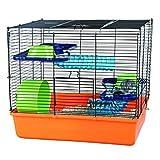 Trixie 6400 Hamsterkäfig 40 × 38 × 30 cm, orange / blau / grün