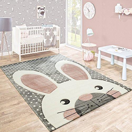 Kinderteppich Kinderzimmer Konturenschnitt Niedlicher Hase Grau Creme Rosa, Grösse:120x170 cm