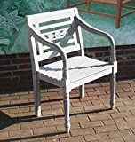Teak Holz Stuhl Batavia Teak Garten Stuhl Teak Armlehnen Stuhl Teak Sessel Massiv-Holz Shabby Chic Grey washed Optik