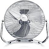 Brandson - Windmaschine Retro Stil 120 Watt | Ventilator in Chrom | Standventilator 50cm | Tischventilator/Bodenventilator | hoher Luftdurchsatz | stufenlos neigbarer Ventilatorkopf | silber