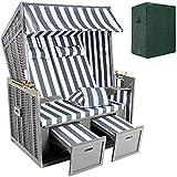 TecTake Zweisitzer Strandkorb + Premium Schutzhülle + 2 extra Kissen -diverse Farben- (Grau-Weiß   Nr. 400636)