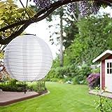 Solar Lampions 5er Set Led Laterne Wasserfest IP55 für Garten Deko Terrasse, Hof, Haus, Weihnachtsbaum aus Nylon/Seide Weiß