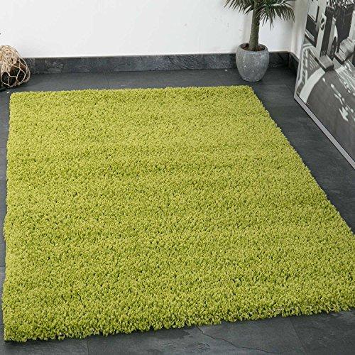 VIMODA Prime Shaggy Teppich Grün Hochflor Langflor Teppiche Modern für Wohnzimmer Schlafzimmer Einfarbig 70x140 cm