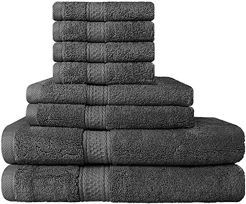 Premium Bad Handtuch-Set 8-teilig; 2 Badetücher, 2 Händehandtuch und 4 Waschlappen - 100%  Ringgesponnene Baumwolle - Super Weich und Hoch Absorbierend - von Utopia Towels (Grau)