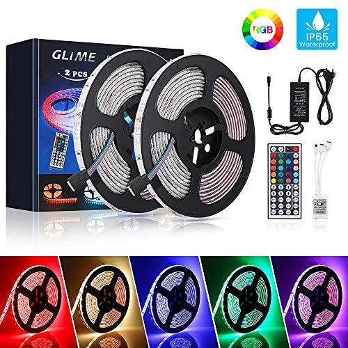 GLIME LED Streifen 10M LED Strip RGB Lichtband 2x5M LED Bänder 300LEDs 5050SMD LED Leiste Wasserdicht IP65 LED Band mit 44 Tasten Fernbedienung Selbstklebend Full Kit für Innen Außen Beleuchtung Deko