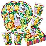 52-teiliges Party-Set Tiere - Dschungel - Jungle - Löwe, Zebra, Giraffe, Krokodil - Teller Becher Servietten für 16 Kinder