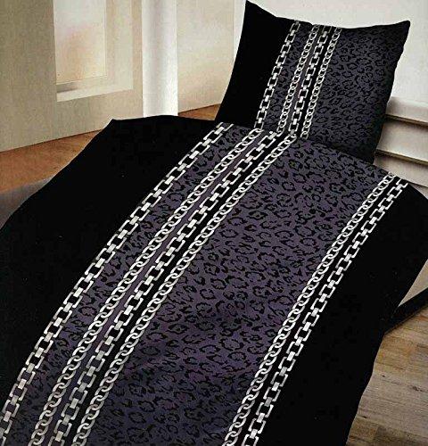 4-Teilig Microfaser Bettwäsche Set mit Reißverschluss 2x 135x200 Bettbezug + 2x 80x80 Kissenbezug , Öko-Tex Standart 100 newyork kette