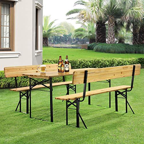 Juskys Holz Bierzeltgarnitur mit Rückenlehne 170 cm | 3-teilig | 2 Bierbänke & breiter Biertisch | Festzeltgarnitur Biertischgarnitur Gartenmöbel-Set