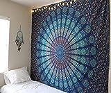Raajsee Indisch Psychedelic Wandteppich Mandala Blau/ Elefant Boho Wandtuch Hippie/Mehrfarbige Boho Indischer Wandbehang Mandala Tuch/Indien baumwolle Bohemian Wand tucher 220x230/Weihnachten Geschenk