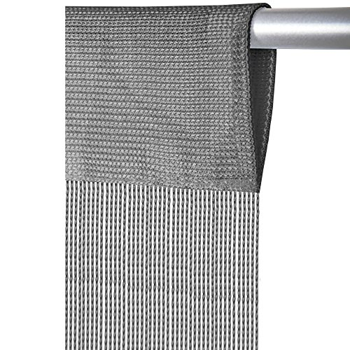 Fadenvorhang mit Stangendurchzug, individuell kürzbare Gardine, moderner und eleganter Dekorationsartikel in vielen Farben und Ausführungen (B140xL250 cm/grau - silbergrau)
