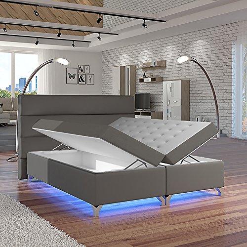 Selsey Luciano – Doppelbett/Boxspringbett in Grau mit Bettkasten Bonellfederkernmatratze und Topper (180x200 cm)