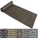 Teppich Läufer Carlton   Flachgewebe dezent gemustert   Teppichläufer in vielen Größen   als Küchenläufer, Flurläufer   mit Stufenmatten kombinierbar (Braun - 80x300 cm)