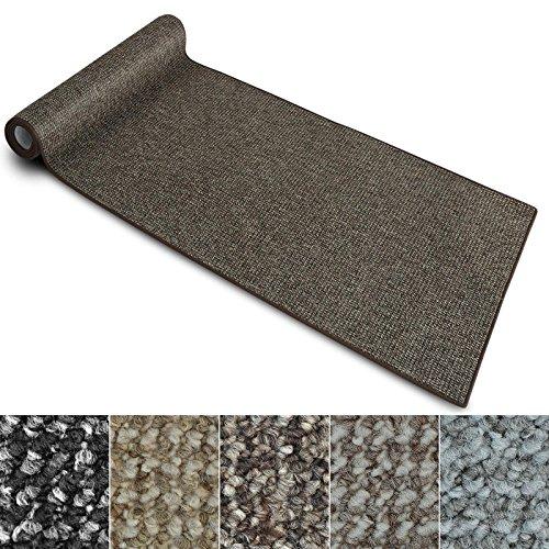 Teppich Läufer Carlton | Flachgewebe dezent gemustert | Teppichläufer in vielen Größen | als Küchenläufer, Flurläufer | mit Stufenmatten kombinierbar (Braun - 80x300 cm)