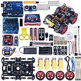 RC arduino Smart Roboter Auto Set, Kuman UNO R3 Robotic-Kit Baukästen mit Streckenverfolgungsmodul, Ultraschallsensor, Servomotor, Hupe, Tutorials für Arduino Projekt Anfänger, Kinder SM11