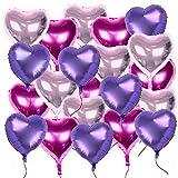 21 Stück 18 Zoll 3 Farben Herzballons (inkl. 2 set Lametta / Rot + Silbrig / ca. 1m pro stk) Folienballons Luftballons Herzform Heliumballons Herzluftballons für Geburtstag Valentinstag Hochzeit Verlobung (3 Farben, 21 Stück (7 stk pro Farben), 18 Zoll)
