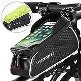 Fahrrad Rahmentasche Wasserdicht DeFe Fahrrad Handy Tasche mit TPU Sensitive Touch-Screen (passend bis zu 6,2 Zoll) Fahrradtasche Oberrohrtasche Handy für Mountainbike (Schwarz)