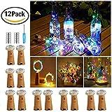 【12 Stück】Nasharia 20 LEDs 2M Flaschen Licht Mehrfarbig, Lichterkette für Flasche LED Lichterketten Stimmungslichter Weinflasche Mini Kupferdraht