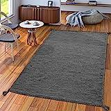 TT Home Handwebteppich Wohnzimmer Natur Webteppich Kelim Modern Baumwolle In Grau, Größe:160x220 cm