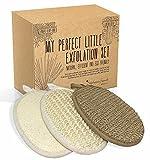 BadeSet fur Korper und Gesicht - drei Peeling Handschuhe aus naturlichen Fasern - Hanf, Sisal und Luffa - Peeling und Reinigung - eine nette Geschenkidee fur Frauen