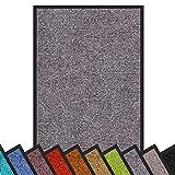 Schmutzfangmatte Rhine | Öko-Tex Standard 100 | waschbare & extra leistungsstarke Fußmatte | Sauberlaufmatte mit Rutschfester Rückseite | Türmatte in vielen Größen & Farben (90x120 cm, Grau)