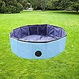 YAOBLUESEA Hundepool Doggy Pool Faltbarer Hunde Planschbecken Badewanne Pool in PVC Φ 120 x 30 cm Blau
